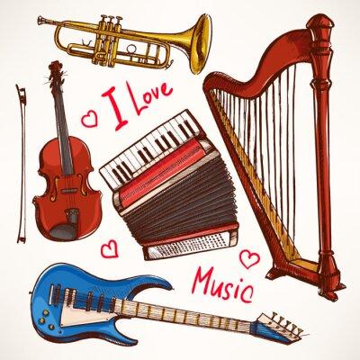 Quadro Set con Strumenti musicali disegnati a mano