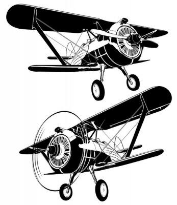 Quadro Set di biplani retrò impostati. Il formato EPS-8 disponibile è separato da gruppi e strati per una facile modifica
