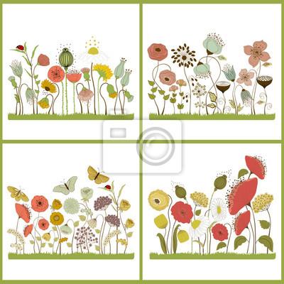 Set di carta floreale con fiori stilizzati e farfalle dipinti da ...