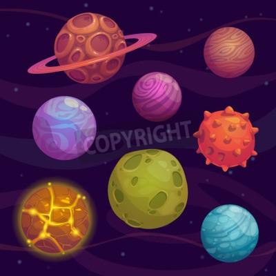 Quadro Set di cartone animato Fantastic Planet su sfondo di spazio