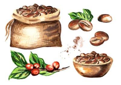 Quadro Set di chicchi di caffè. Illustrazione disegnata a mano dell'acquerello isolato su priorità bassa bianca