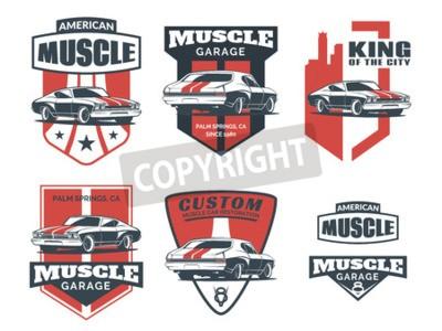 Quadro Set di icone classiche dell'auto muscolare, emblemi, badge e icone isolate su sfondo bianco. Riparazione auto di servizio, ricostruzione dell'automobile e elementi di design club per auto.