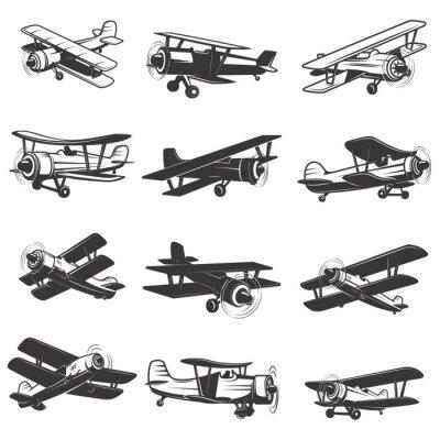 Quadro set di icone d'epoca aerei. illustrazioni di aeromobili. Elemento di design per il logo, etichetta, emblema, segno. Illustrazione vettoriale.