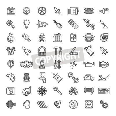 Quadro Set di icone di parti di auto. Simbolo di riparazione di servizio automatico, motoriduttore, chiave e filtro, illustrazione vettoriale