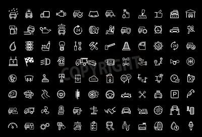 Quadro set di icone vettoriali nero auto