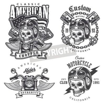 Quadro Set di moto d'epoca t-shirt stampe, emblemi, etichette, distintivi e loghi. stile in bianco e nero. Isolato su sfondo bianco