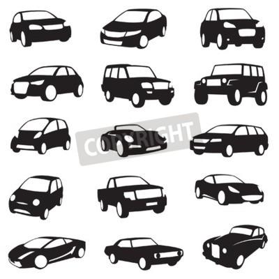 Quadro set di quindici Nero auto sagome