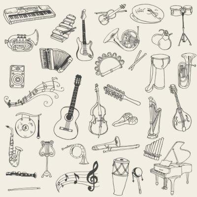 Quadro Set di Strumenti Musicali - disegnata a mano in formato vettoriale