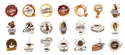 Quadro Set of coffee logos. Vector illustration on white background