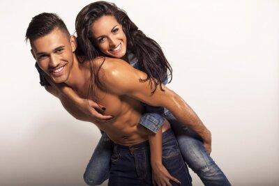 Quadro sexy bella coppia in jeans