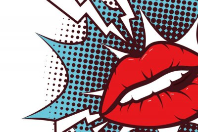 Quadro sexy woman mouth with splash expression pop art style