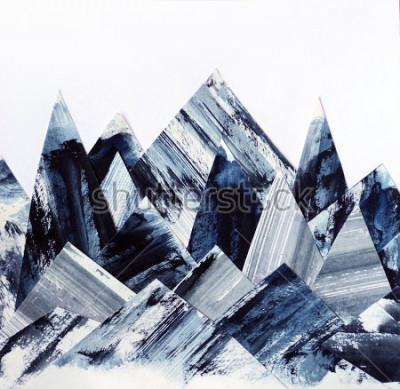 Quadro Sfondo artistico Trama dell'inchiostro su carta Collage di montagne astratte