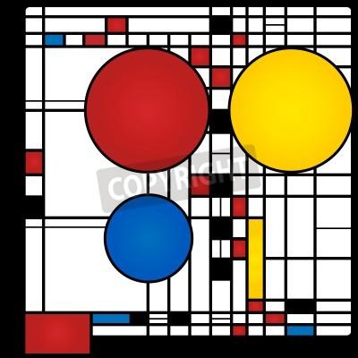 Quadro Sfondo astratto nello stile di un cubismo, rosso, blu, giallo e piazze round