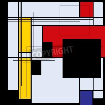 Quadro Sfondo astratto nello stile di un cubismo, rosso, blu, giallo piazze