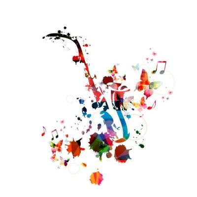 Quadro Sfondo colorato di musica con il sassofono