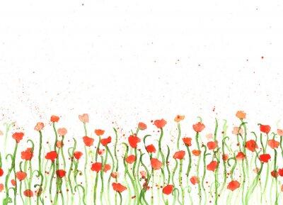 Quadro Sfondo con disegno a mano acquarello papaveri rossi su fondo bianco. striscione senza soluzione di continuità con i fiori. pittura a mano colore copy space bordo.