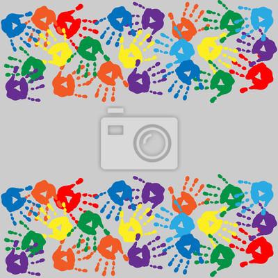 2c94dcda83 Quadro: Sfondo con impronte di mani colorate