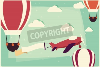 Quadro Sfondo con mongolfiere e aeroplano con nastro, illustrazione vettoriale