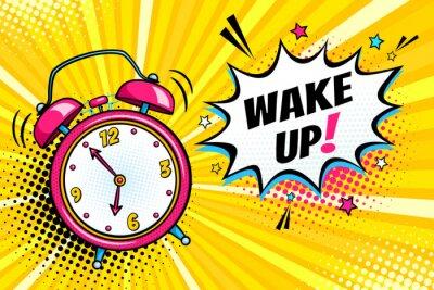 Quadro Sfondo con orologio sveglia comica e bolla di espressione di espressione con il testo di svegliarsi. Illustrazione vettoriale luminoso dinamico del fumetto nel retro stile pop art su sfondo mezzitoni.
