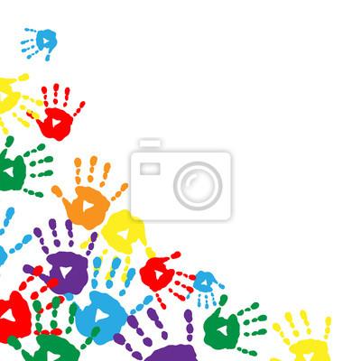 62fedb4e73 Quadro: Sfondo con stampe colorate di palme per bambini