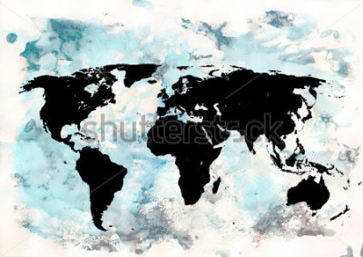 Quadro Sfondo della mappa del mondo. Sfondo grunge Arte astratta emotiva. Elemento di design moderno