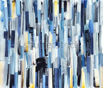 Quadro Sfondo di arte astratta con strisce multicolori e alzavole. Trama dell'inchiostro su carta