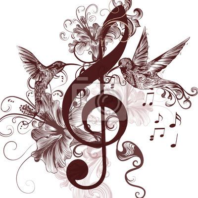 Sfondo Di Musica Con Chiave Di Violino E Colibrì Per La
