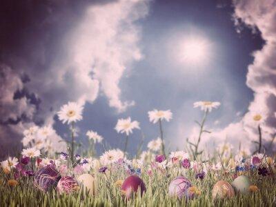 Quadro Sfondo di Pasqua dell'annata con uova e fiori
