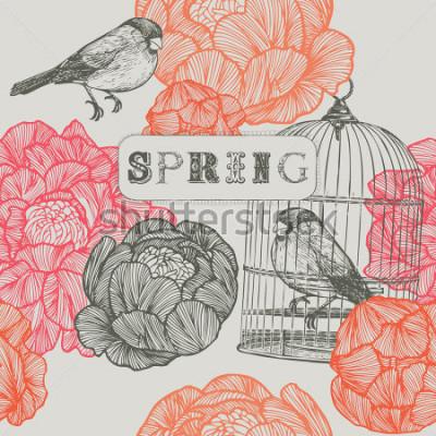 Quadro Sfondo di primavera Uccelli e gabbie Modello senza soluzione di continuità