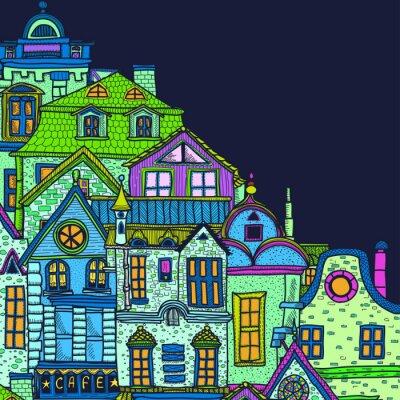 Quadro Sfondo disegnati a mano con la notte città vecchia