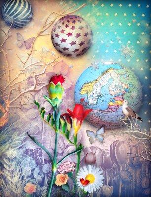 Quadro sfondo Fairytales con fleld di fiori colorati
