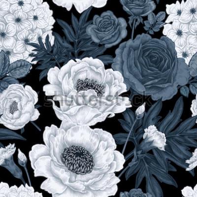 Quadro Sfondo floreale bianco e nero con rose, peonie, ortensie, garofani.