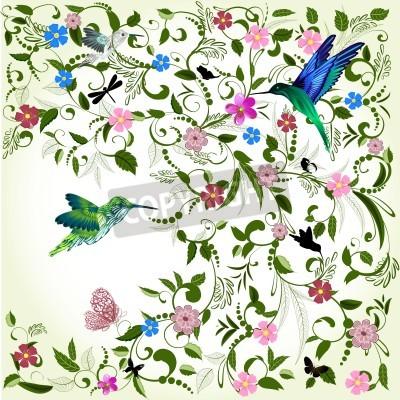 Quadro Sfondo floreale con l'uccello