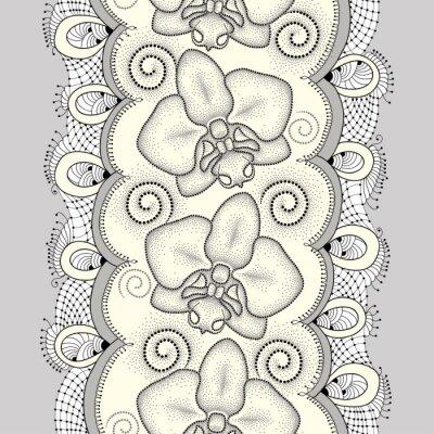 Quadro sfondo floreale in stile dotwork.