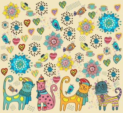 Quadro Sfondo luminoso con i gatti, fiori e cuori