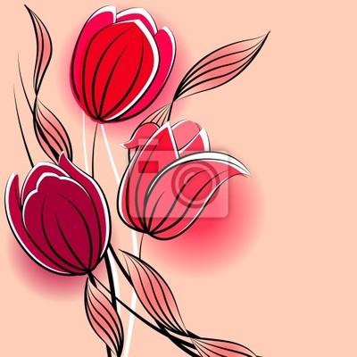 Sfondo pastello con contorno tulipani stilizzati dipinti da parete ...