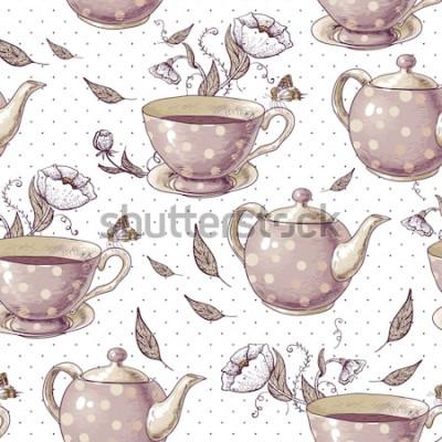 Quadro Sfondo senza soluzione di continuità con tazze di tè, vasi e fiori in stile vintage.