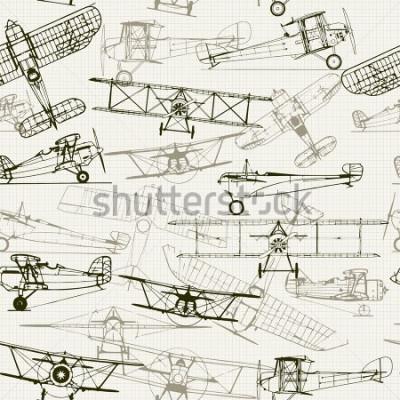 Quadro Sfondo senza soluzione di continuità d'epoca. Composizione stilizzata dell'aeroplano. la trama della carta millimetrata può essere disattivata. Può essere usato per