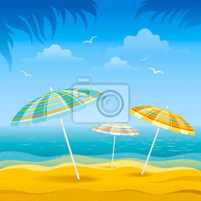 Sfondo Spiaggia Con Il Mare Blu E Spogliato Ombrelloni Da Spiaggia