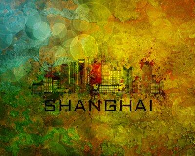 Quadro Shanghai City Skyline su sfondo grunge Illustrazione