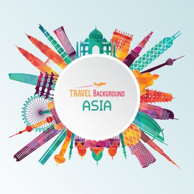 Quadro silhouette dettagliata Asia. illustrazione di vettore