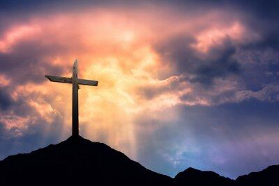 Quadro Silhouette di Croce a Sunrise