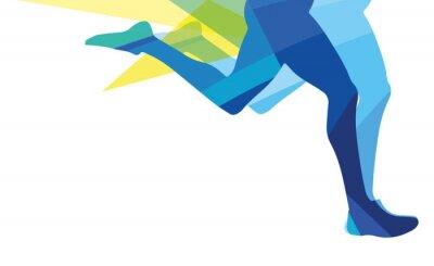Quadro Silhouette di un uomo che corre gambe colori overlay trasparente