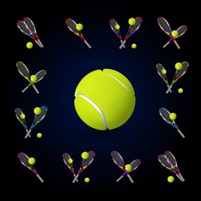 Quadro simboli di vettore di tennis come elementi di design, palle da tennis, tennis r