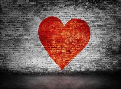 Quadro Simbolo di amore dipinto sul muro di mattoni torbida