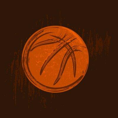 Quadro simbolo di basket disegno con tratti neri sfondo scuro
