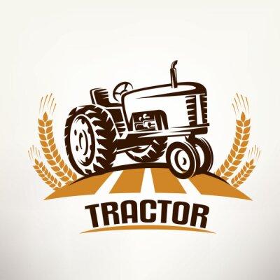 Quadro Simbolo vettoriale retrò del trattore