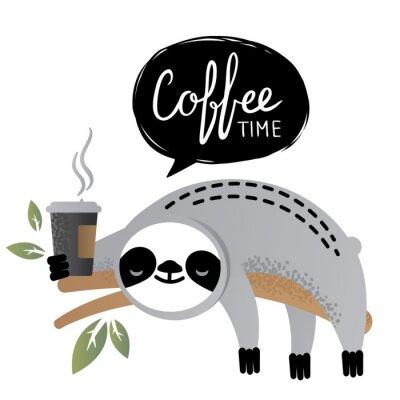Quadro Simpatico orso bradipo vettoriale con lettering tempo del caffè.