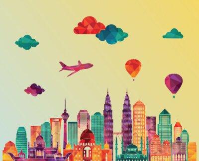 Quadro skyline di Kuala Lumpur. illustrazione di vettore