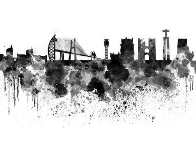 Quadro skyline di Lisbona in acquerello sfondo nero